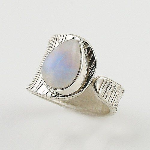 Moonstone Deep Textured Sterling Silver Adjustable Ring - Keja Designs Jewelry