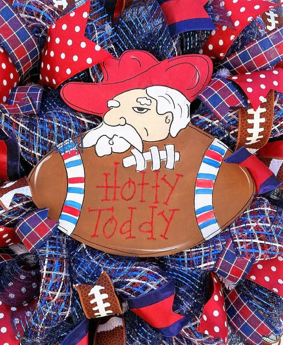 Ole Miss Wreath,Sports Themed Wreath, Game Day Wreath, Hotty Toddy Wreath, Ole Miss Rebels Wreath, Collegiate Wreath, Boys of Fall Wreath