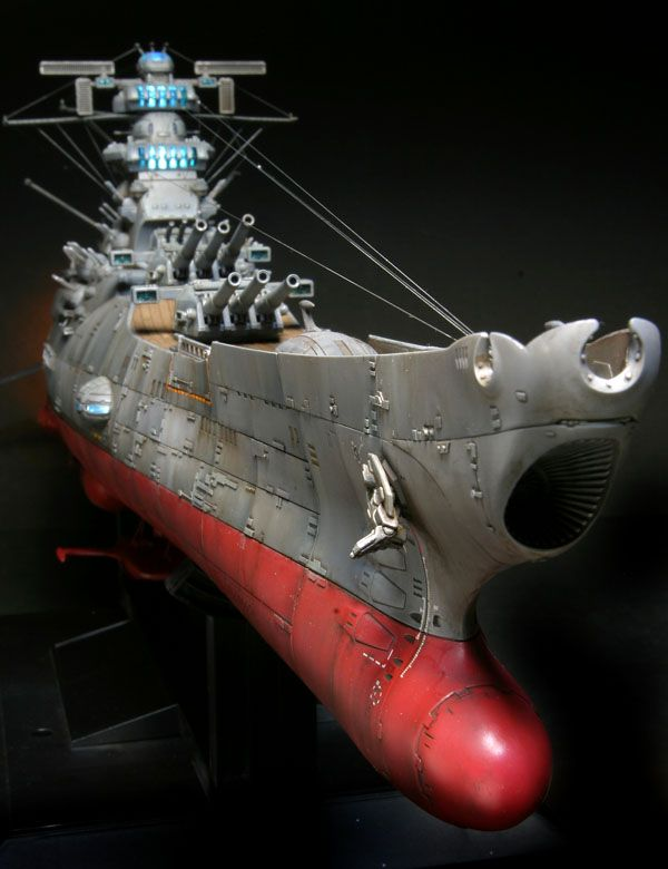 "1/500-scale Bandai Yamato model, customized by ""Takapaint."" Angle: starboard forward midline."