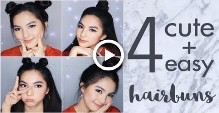 4 Easy and Cute Hair Buns Tutorial for School or Hangout | Tumblr Inspired [ENG Subs] - #hangout #inspired #school #tumblr #tutorial -