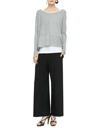Speckled Box Knit Top, Slim Tank & Wide-Leg Pants by Eileen Fisher at Neiman Marcus.