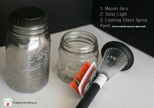 diy mason jar solar lights--use fine glitter and acrylic floor wax inside the jar and they look really pretty for holidays! You can also put stickers on outside (black vinyl cut shapes even) and turn them into patio lights for Halloween.