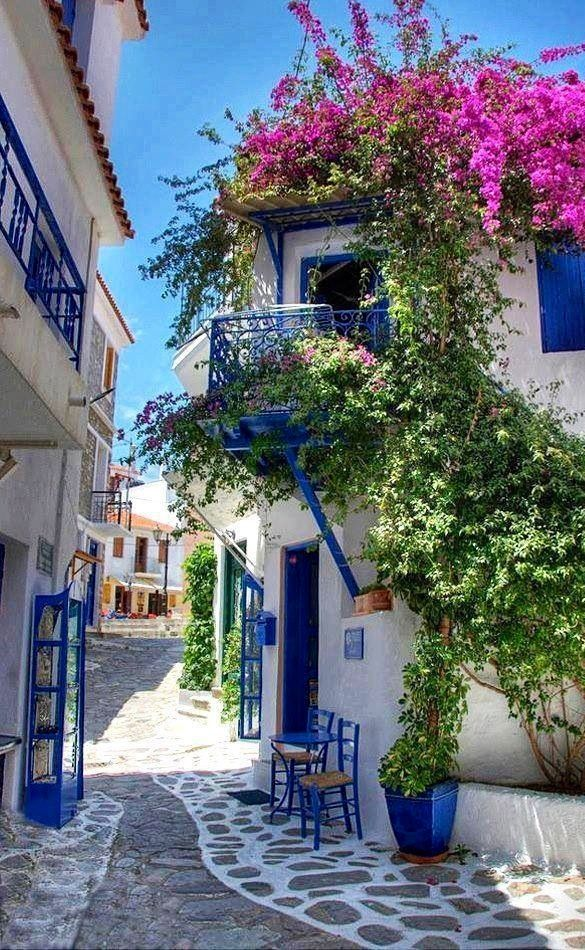Street in Alacati, Turkey. I hope to have a white house with blue shutters one day.