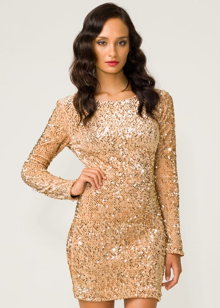 Long sleeve glitter party dresses
