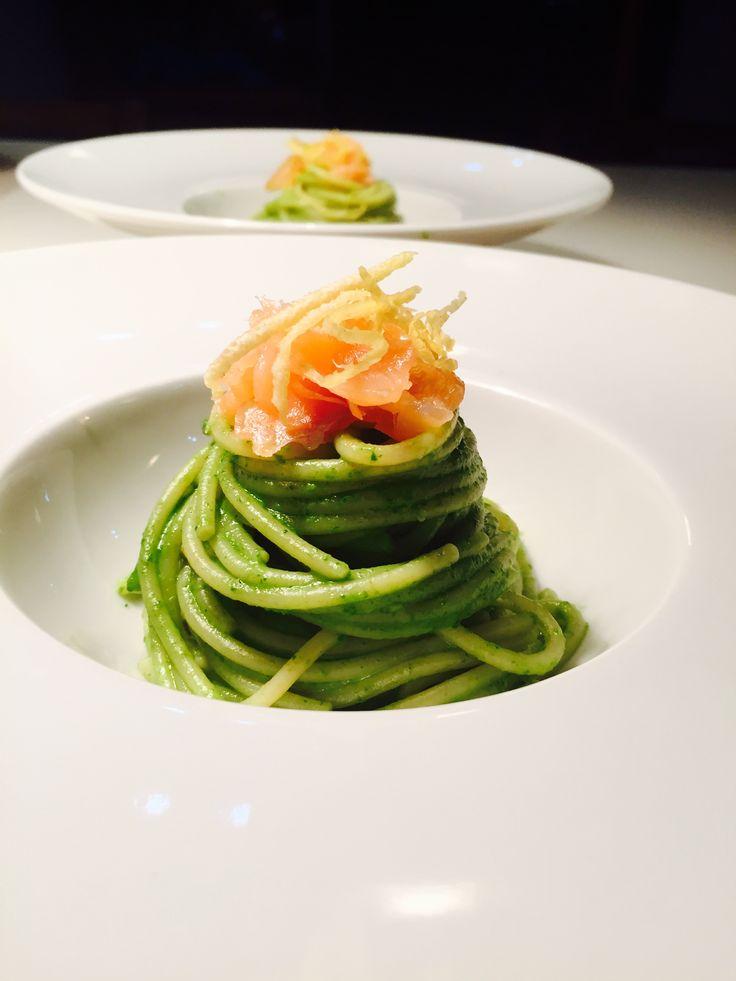 Spaghetti di Kamut rucola limone e salmone