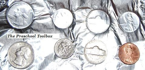 Coin Printing with Aluminum Foil~ One of a dozen money-themed activities to help kids learn about money.