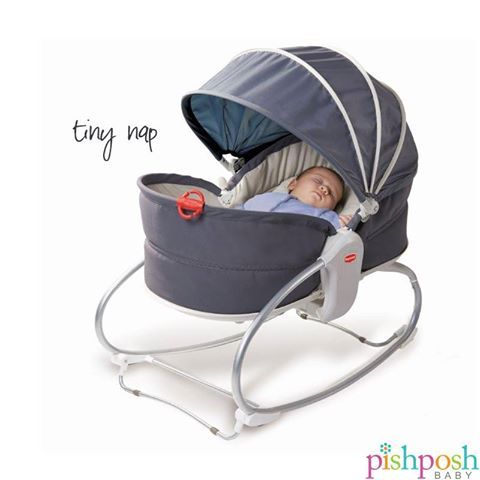 Tiny Love Cozy Rocker Napper is just the cutest little thing! Recline feature converts it from a mini crib to a bouncer seat for babies up to 40 lbs. Includes calming vibrations, 9 different melodies, additional head-support and fastener for pacifier or toy. Perfect size for urban dwellers!  http://www.pishposhbaby.com/tiny-love-cozy-rocker-napper.html