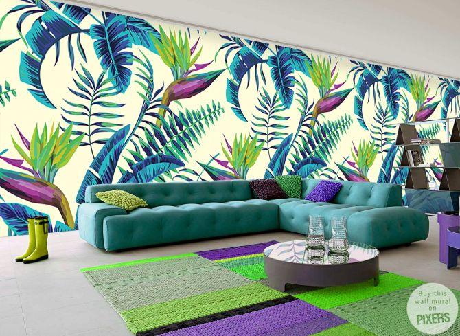 Fotomurale piante esotiche - ispirazioni fotomurale, galleria d'interni •…