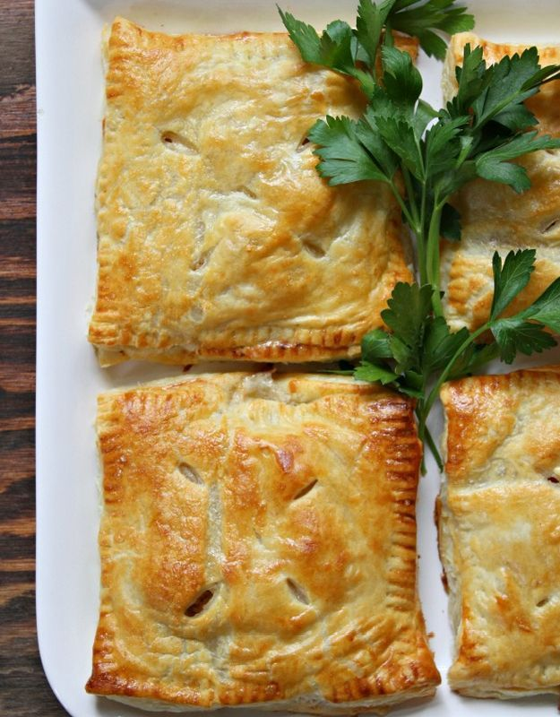 Turkey, Mushroom and Bacon Puff Pastry Pockets | Leftover Turkey? These 16 delicious and completely different recipes of turkey will make your family ask for more! From Refreshing Salad Recipe to a Marvelous and Mouth Watering Cheesy Pizza Recipes! Check it out at HomemadeRecipes.com