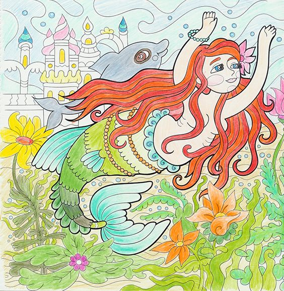 The Little Mermaid, Milana Samarskaya: drawing, fairy tales, Hans Christian Andersen, Clara Wedersøe Strunge: colouring
