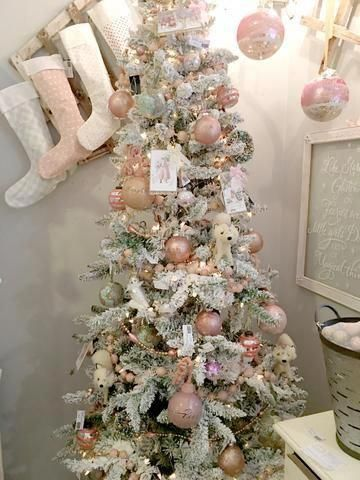 Pink Christmas Tree Flocked Snowy Tree Christmaslightsdiy
