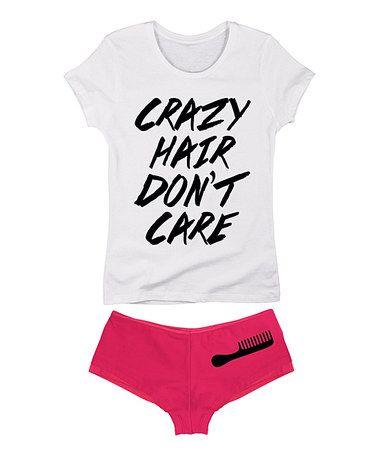 Love this White & Fuchsia 'Crazy Hair Don't Care' Tee & Boyshorts on #zulily! #zulilyfinds