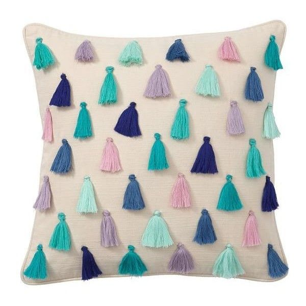 Rainbow Tassel Pillow Covers ❤ liked on Polyvore featuring home, home decor, throw pillows, tassels home decor, colorful home decor, multi color throw pillows, square throw pillows and white toss pillows