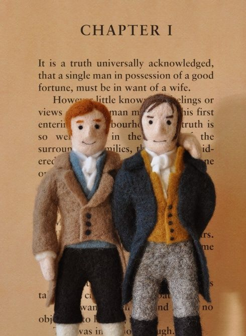 Needle-felted Austen characters Mr. Darcy (swoon!) and Mr. Bingley!