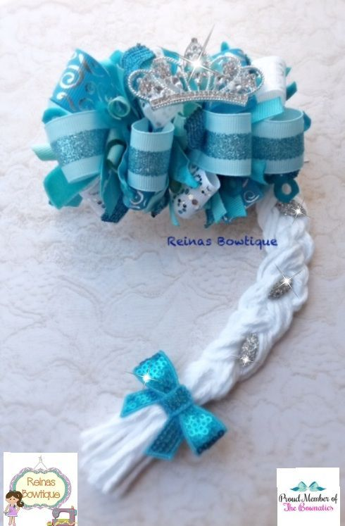Elsa Hair Bow w/ braid & crown ...love it <3