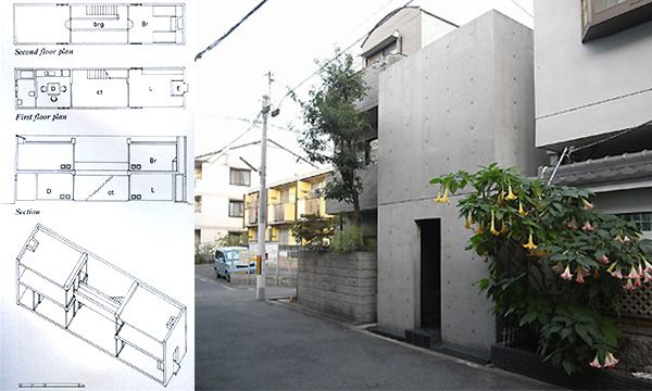 住吉の長屋(安藤忠雄)  (1976年、大阪府)ファサードに玄関以外の開口部がなく、住宅の中央部に光庭を設けた住宅である。