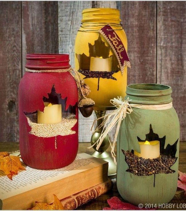Fall Craft Ideas with Mason Jars: Leaf Luminary