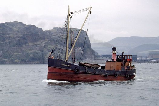 The Clyde puffer 'Starlight' passing Dumbarton Rock on the ...