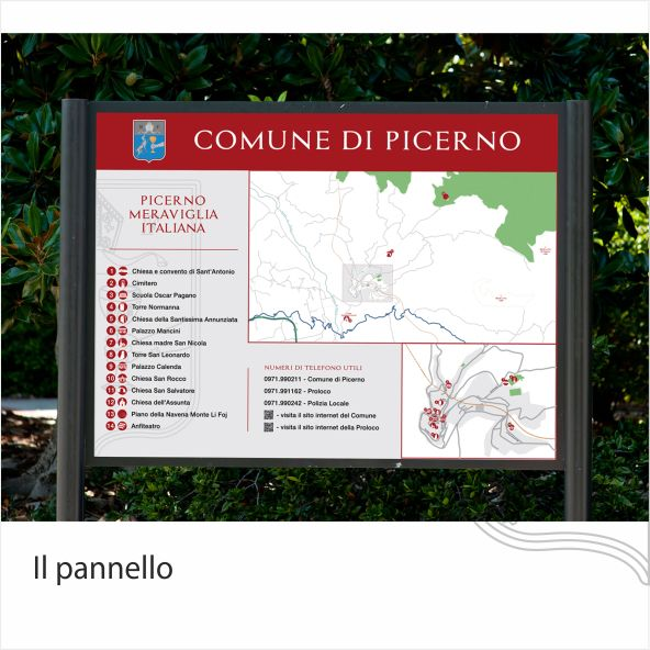 Pannello informativo Comune di Picerno on Behance. Progettazione grafica di un sistema di mappe e segnali di direzione svolto per il Comune di Picerno per conto di CGA Srl Unipersonale. -- Maps and direction signs for the city of Picerno, on behalf of CGA Srl Unipersonale.