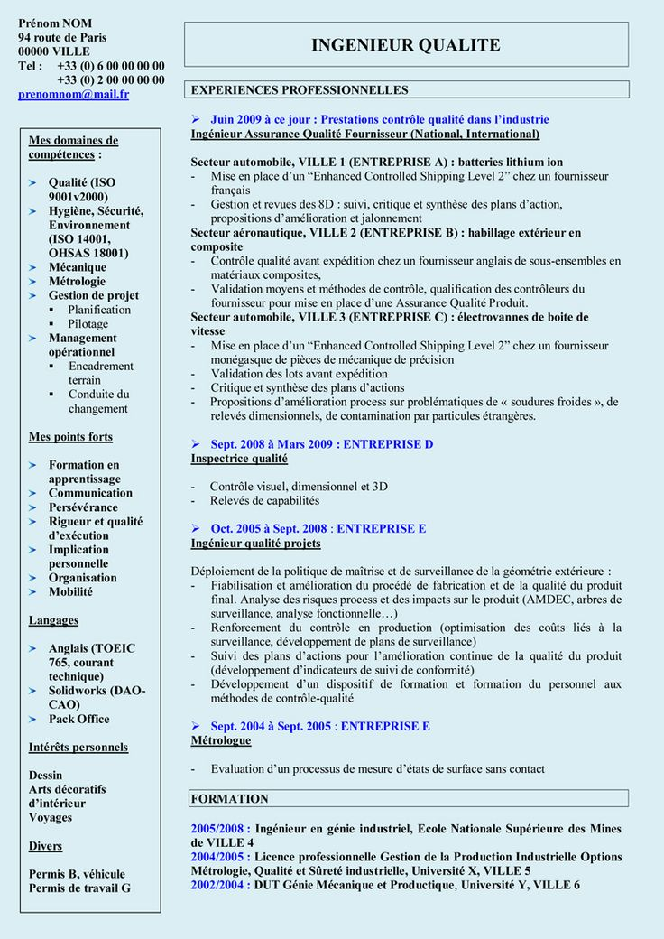 exemple de cv technicien en metrologie