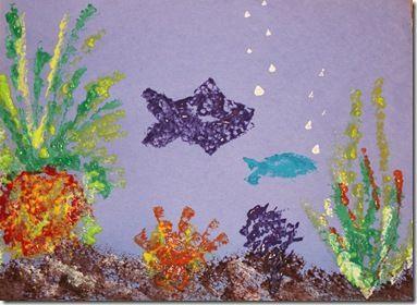 Australia Craft - Create a Great Barrier Reef sponge painting. (geography, homeschool, preschool)