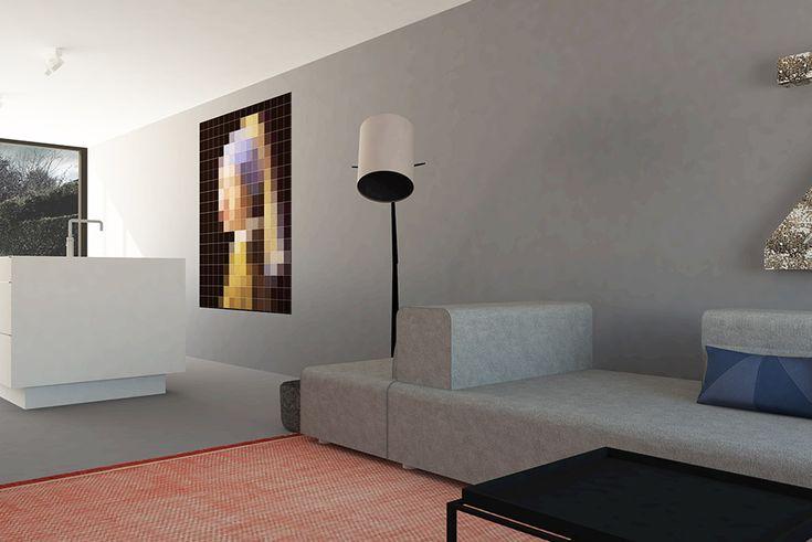 Moderne woonkamer met groot kookeiland en gietvloer