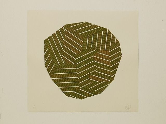 Richard Deacon I Green & Orange Division I Woodblock on kozo paper, collaged on Saunders 300 cold pressed paper   Singapore Tyler Print Institute