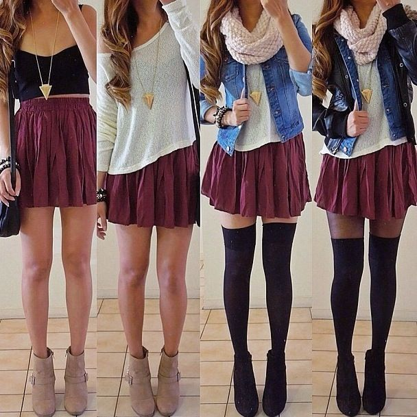 Ways to wear a skirt. Not a fan of the stockings