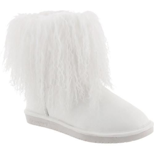 Women's Bearpaw Boo Solids Furry Boot Curly Lamb Hair/Cow