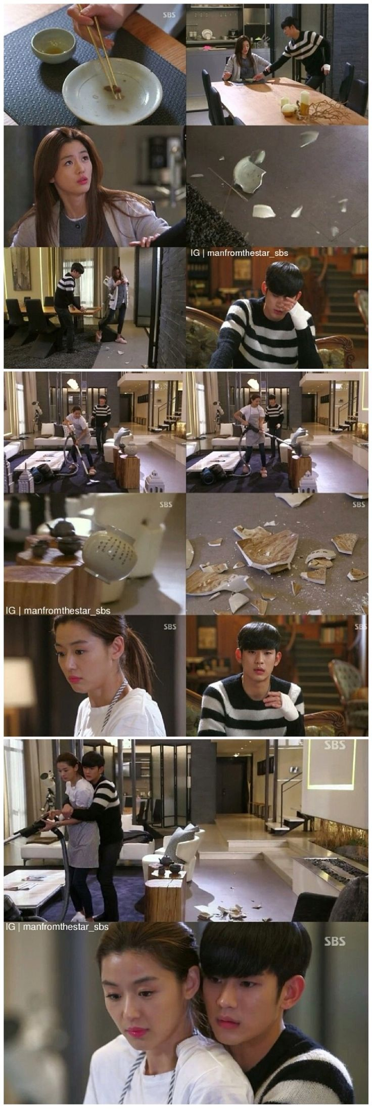 My Love From Another Star #kdrama funny scene as she breaks expensive stuff while cleaning
