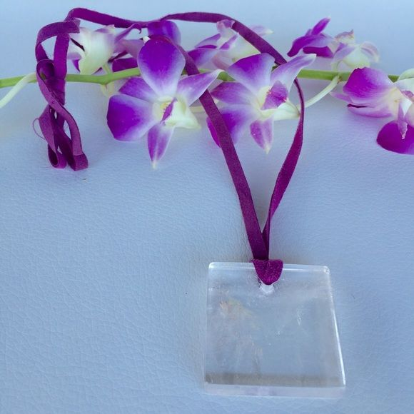 Anthropologie UK crystal on purple suede NWOT Clear quartz crystal on adjustable purple suede leather NWOT from London fashion week Anthropologie Jewelry Necklaces