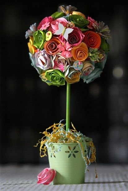 DIY: Spring Paper Flower Topiary Craft