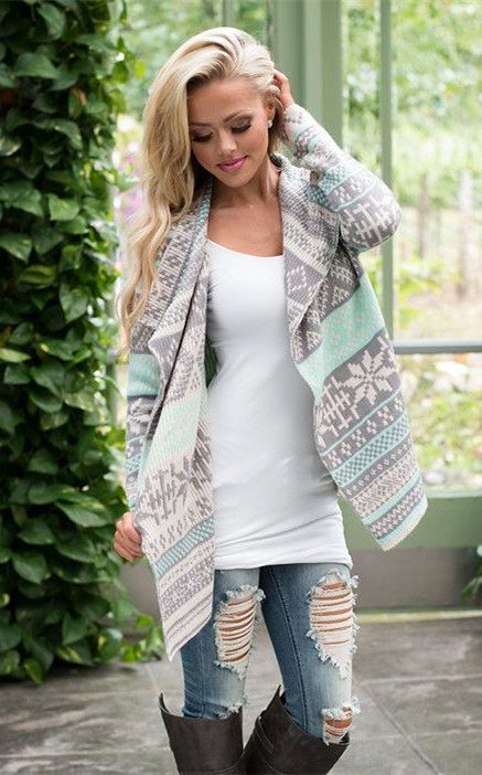 Snow Print Asymmetric Cardigan