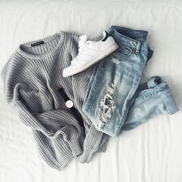 Grey sweater with light blue jeans