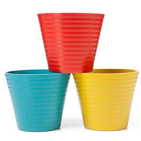 Pack of 3 colored pots $2.50 (alternate with the geometric pots on the 3 tier stand)