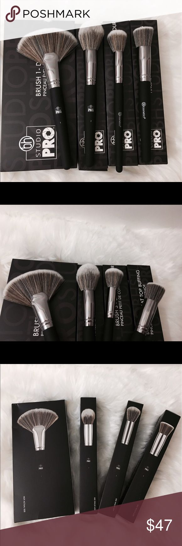 💯💋Studio pro Bh cosmetics pro brush set x4 nib Brand new Bh pro Brushes ! My dolls know I'm a certified MUA 10 + years ! Ex Mac , channel , Laura , Estée  MUA and I'm obsessed w/ Bh ! These are heaven ! I'm a top trusted 5✨rated makeup seller ! 400 + love notes 20K follwers 🎉✨💕  ! I  also send juicy gifts ! And package professionally ! Offer or bundle and I will do a private offer & top bundle discount more !listed u for Mac for viewing only Makeup
