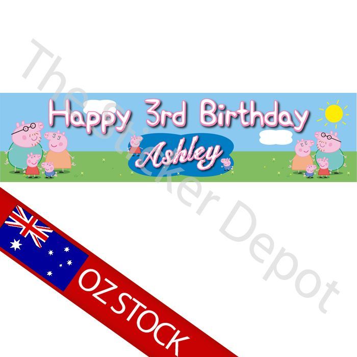 Peppa Pig Personalised Birthday Banner with FREE shipping #birthday #birthdaybanner #kidsparty #peppapig