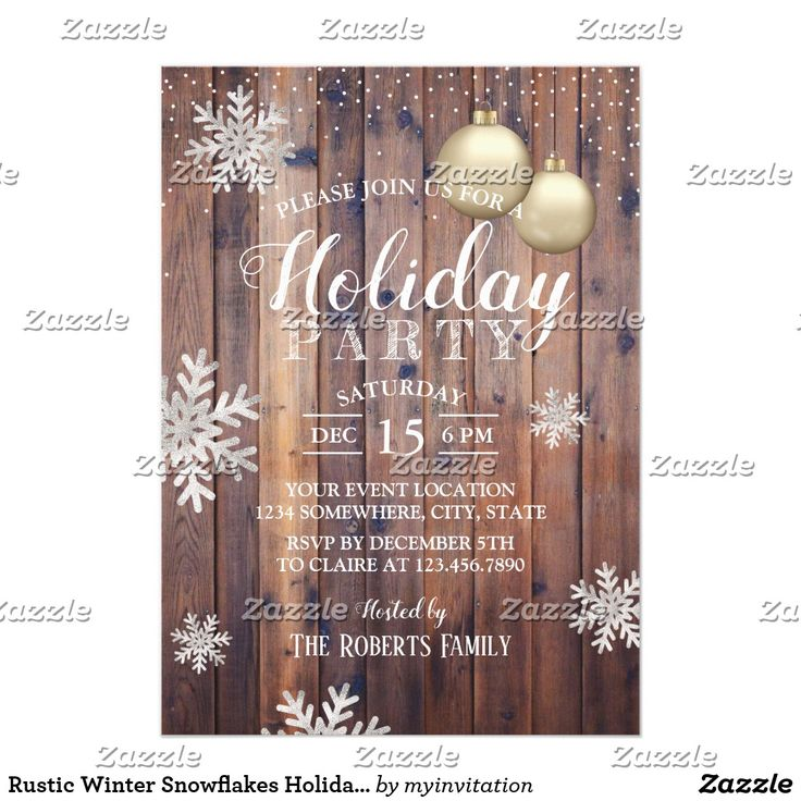 716 best zazzlers christmas invitations images on pinterest rustic winter snowflakes holiday party christmas invitationsholiday stopboris Image collections