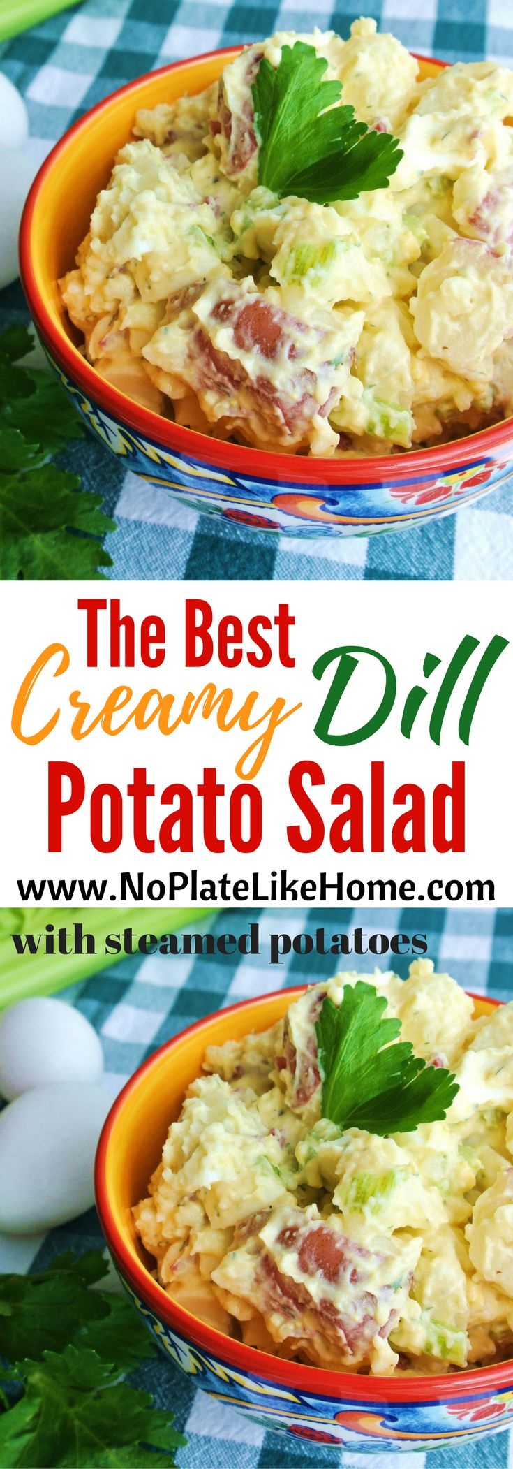 This is the best easy homemade redskin potato salad recipe with eggs! It is made with steamed potatoes for the best silky soft perfectly cooked potatoes. The creamy dill flavor with a hint of mustard is what your family will love. Bring it to BBQs. It will be a hit! Pin for later.