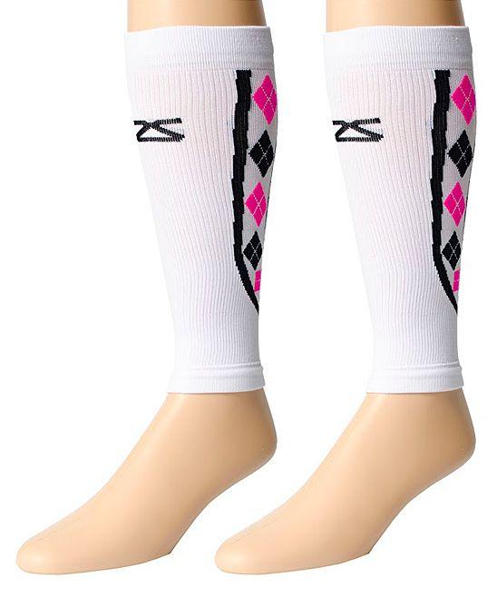 White Argyle Leg Compression Sleeves
