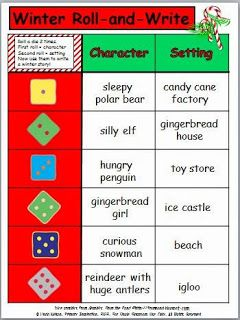 FREE holiday writing about silly characters and settings... just roll the dice!