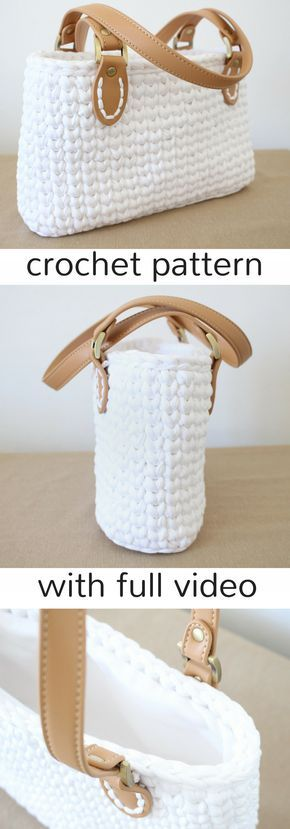 Crochet handbag pattern with video. Super cute and pretty easy. Made in the round using t-shirt yarn. Click to view on Ravelry!