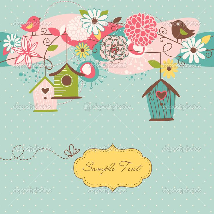 Красивый весенний фон с птицей дома, птицы и цветы - Векторная картинка: 10377525