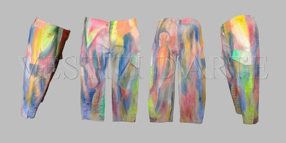 UNISEX PAINTED JEANS, jeans cropped pants, pants ladies shorts, shorts painted, painted clothes, clothes for mens, mens trousers,…