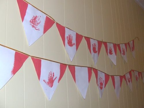 canada flag banner - with hand prints