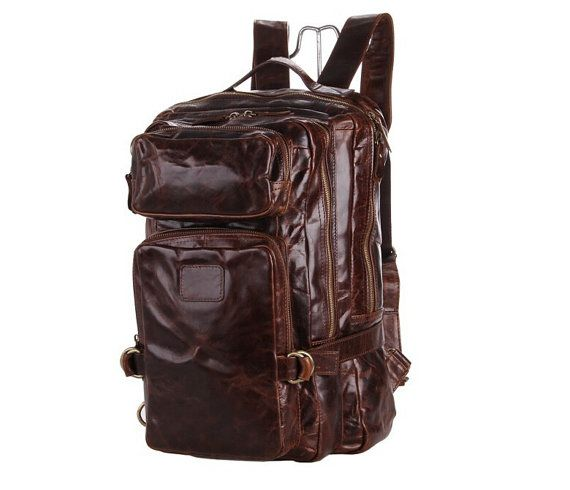 15'' Vintage Genuine Leather Backpack by MooshiLeatherDesign