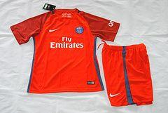 16/17 PSG away kids soccer kit. paris red children football jersey