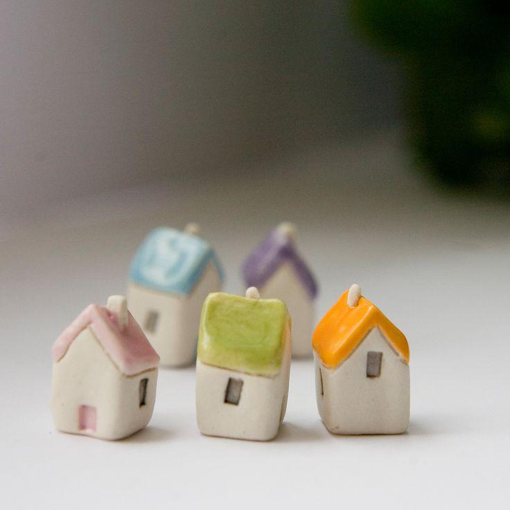 Miniature clay houses five ceramic porcelain tiny house garden figurines. £15.00, via Etsy.