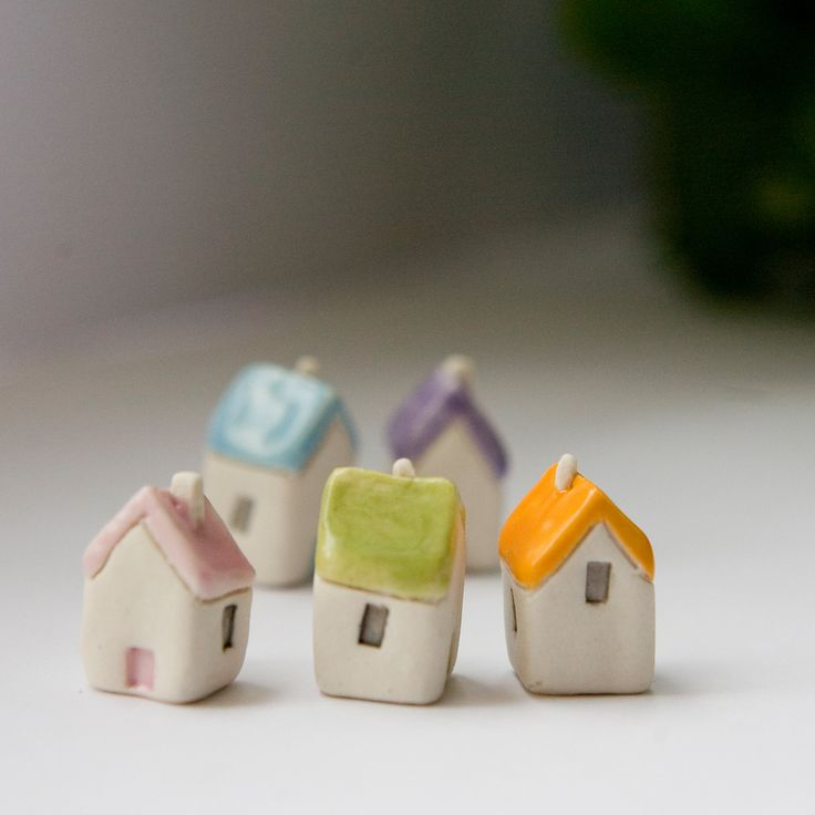 Miniature clay houses five ceramic porcelain tiny house garden figurines. £15.00, via Etsy.