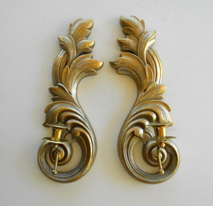 Pair of Vintage Sconces, Wall Candle Sconces, 1970's, Syroco Wall Candlestick Sconces Set, Wall Hanging Sconces, Victorian Wall Sconces by GoldLeafGirl on Etsy